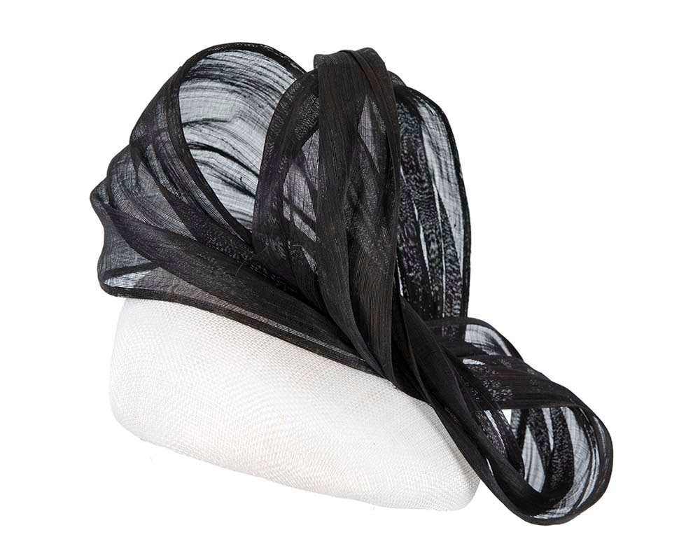 White & black pillbox with silk abaca bow by Fillies Collection