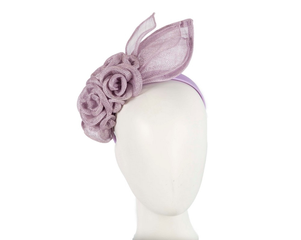 Large lilac sinamay  flower fascinator by Max Alexander