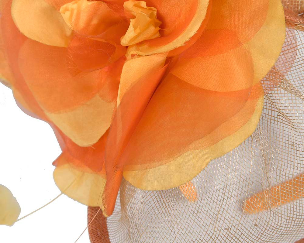Large orange racing fascinator by Cupids Millinery Melbourne
