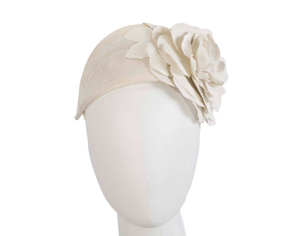Wide cream leather rose headband fascinator by Max Alexander