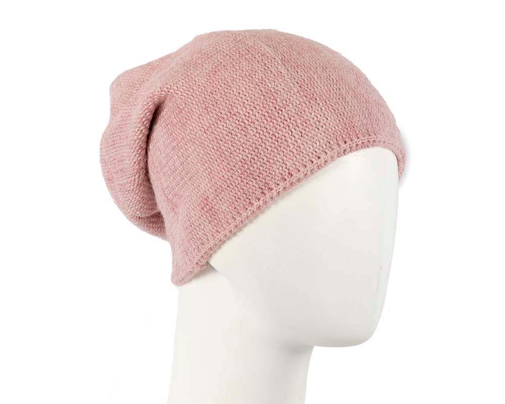 European made woven dusty pink beanie
