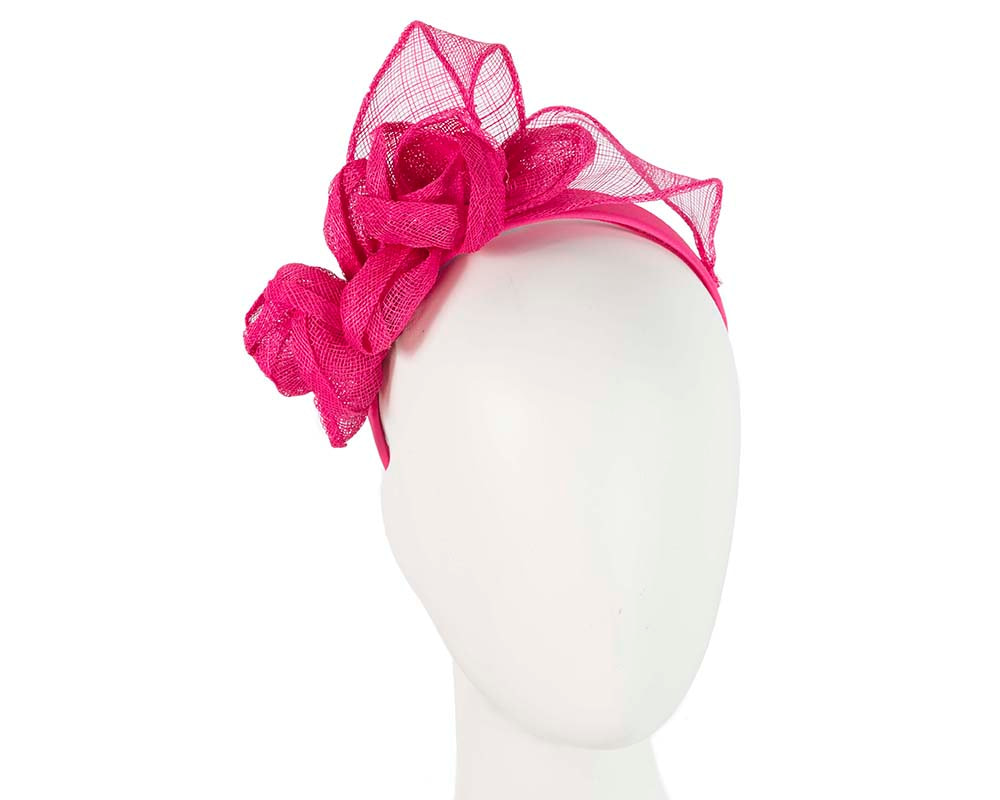 Fuchsia sinamay flower crown