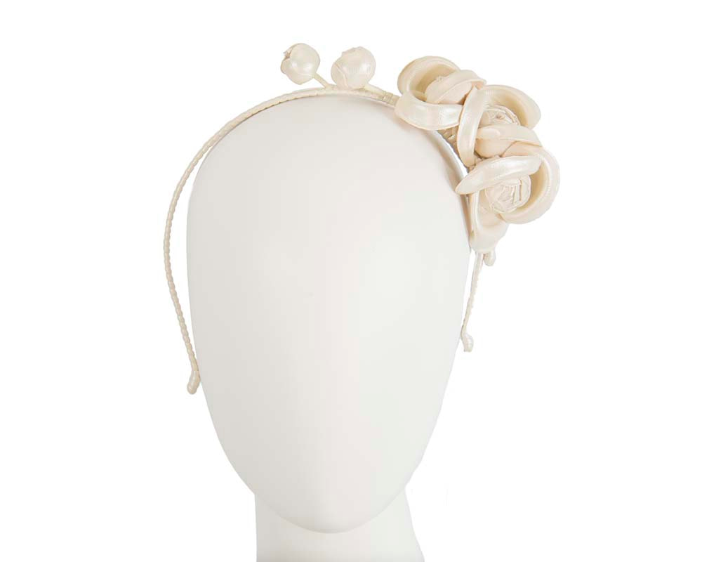 Cream leather flowers headband by Max Alexander