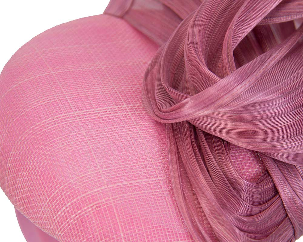 Elegant dusty pink pillbox racing fascinator by Fillies Collection