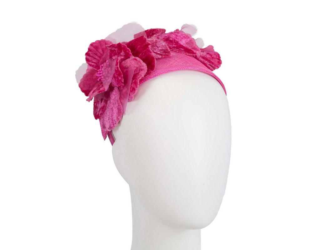 Wide fuchsia flower headband fascinator by Max Alexander