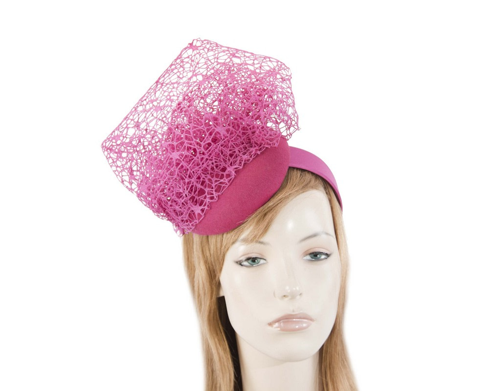 Unusual fuchsia winter fascinator