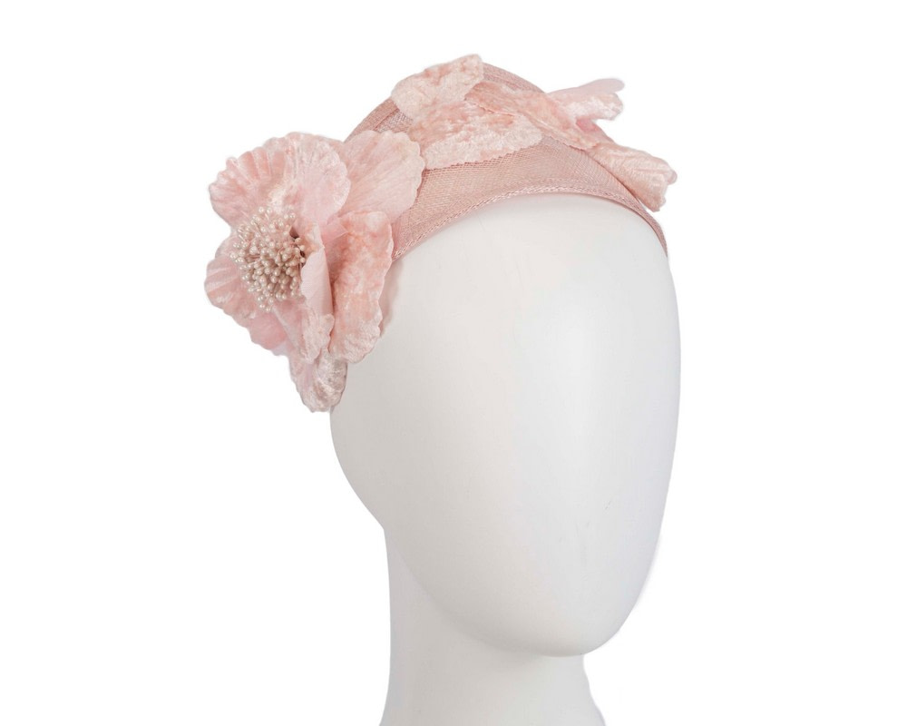 Wide blush flower headband fascinator by Max Alexander