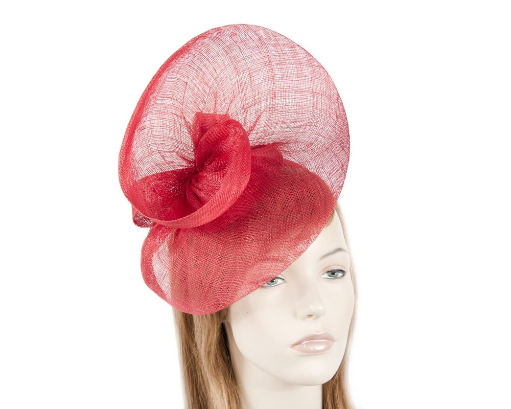Large red sinamay fascinator