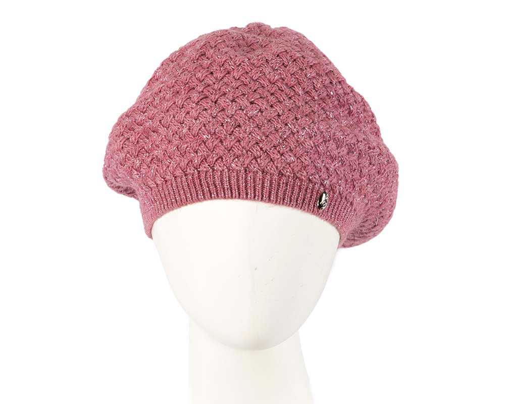 Crocheted wool dusty pink beret by Max Alexander