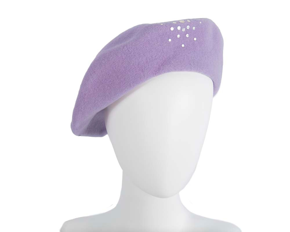 Lilac winter french beret with stones by Max Alexander
