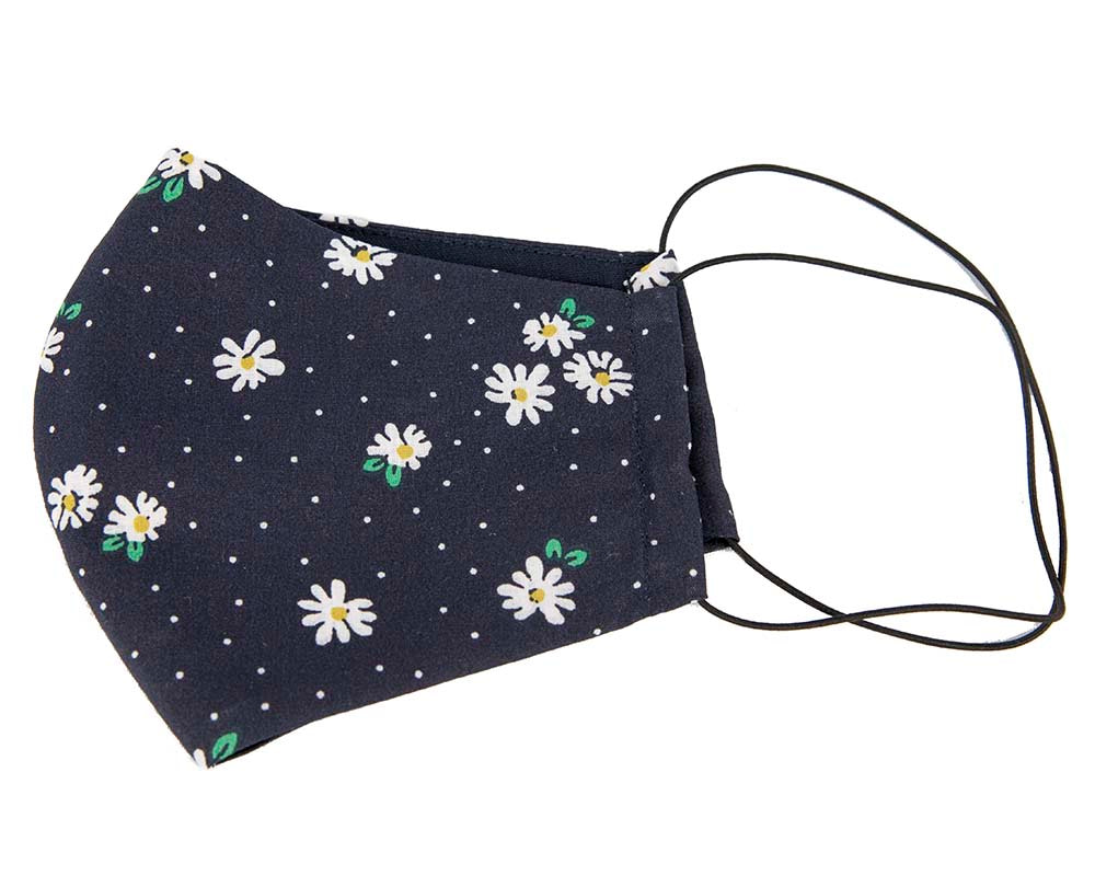 Comfortable re-usable navy cotton face mask with flowers