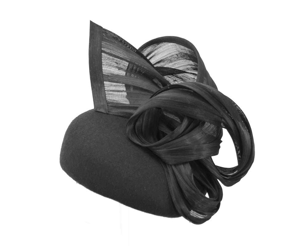 Black winter pillbox with silk abaca trim