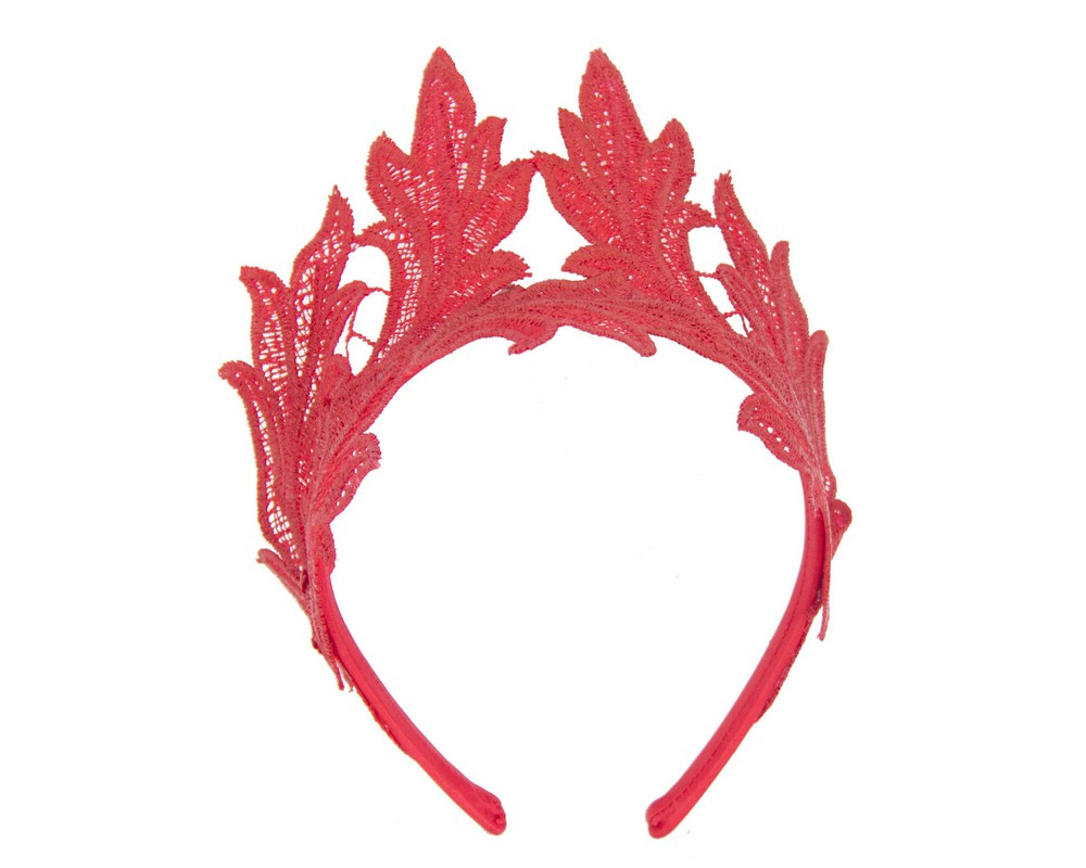 Red lace crown fascinator headband by Max Alexander