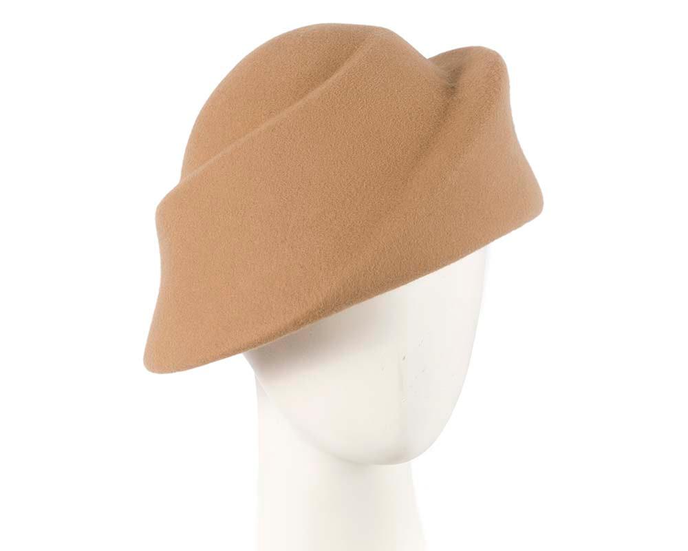 Unique beige ladies winter felt fashion hat