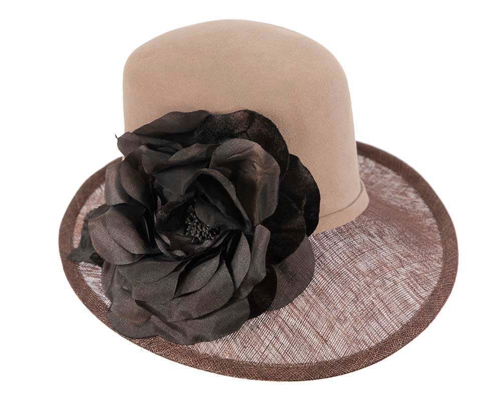Exclusive cofee ladies winter fashion hat with flower by Cupids Millinery