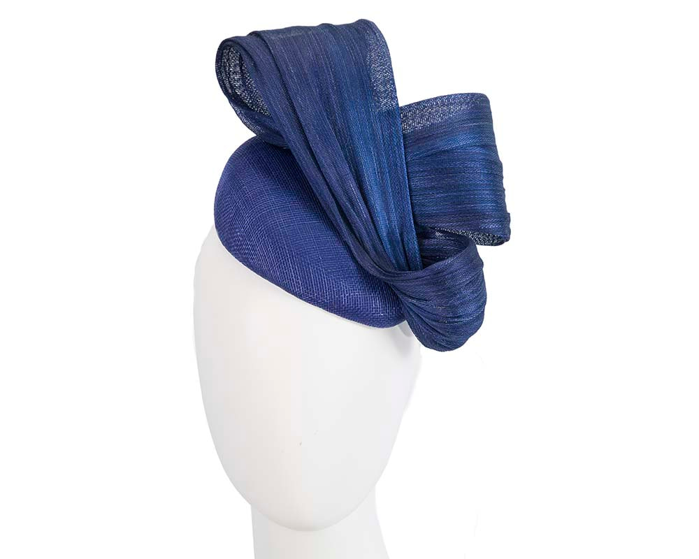 Royal blue pillbox fascinator for Melbourne Cup races by Fillies Collection