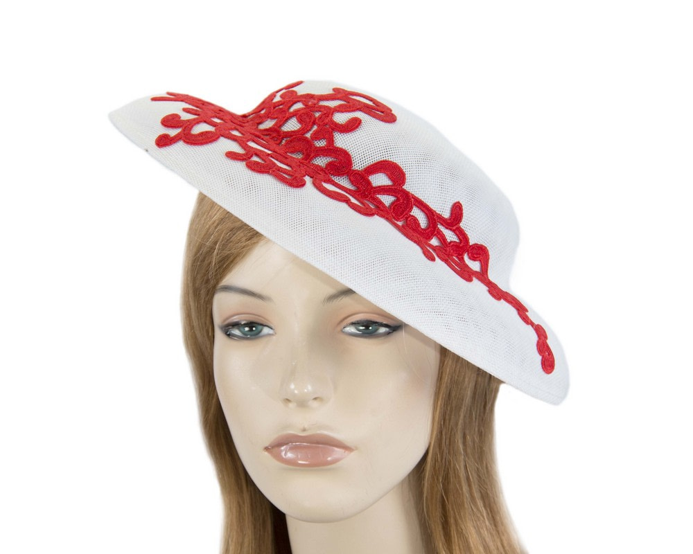 Unusual white & red boater hat by Max Alexander