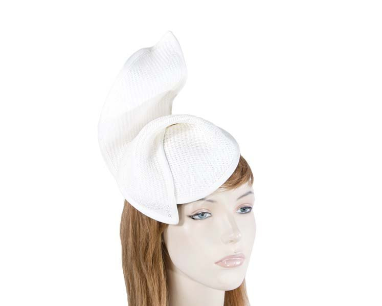 White fashion pillbox fascinator hat for races Max Alexander MA564W