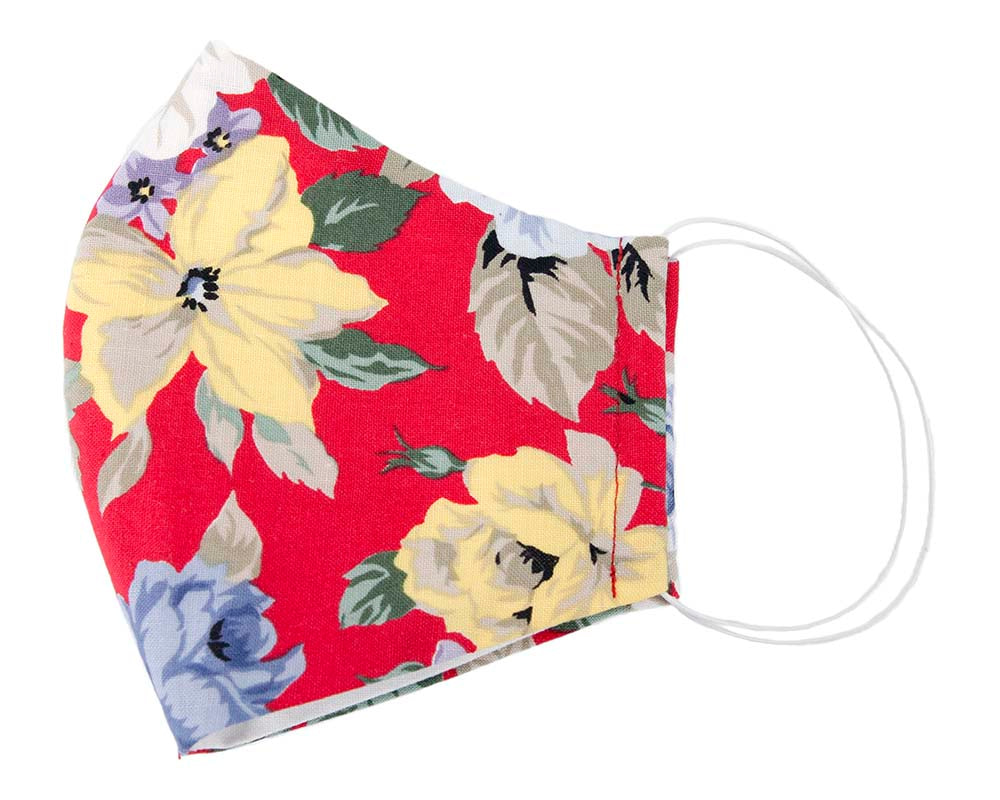 Comfortable re-usable red face mask with flowers