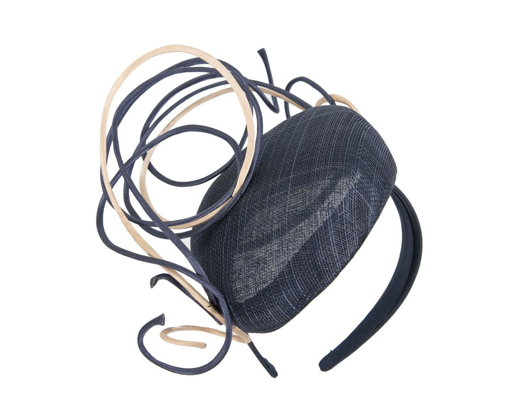 Designers navy & nude pillbox fascinator by Fillies Collection