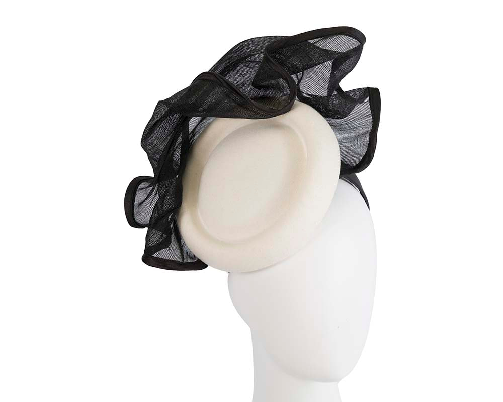 Bespoke cream & black winter racing fascinator by Fillies Collection