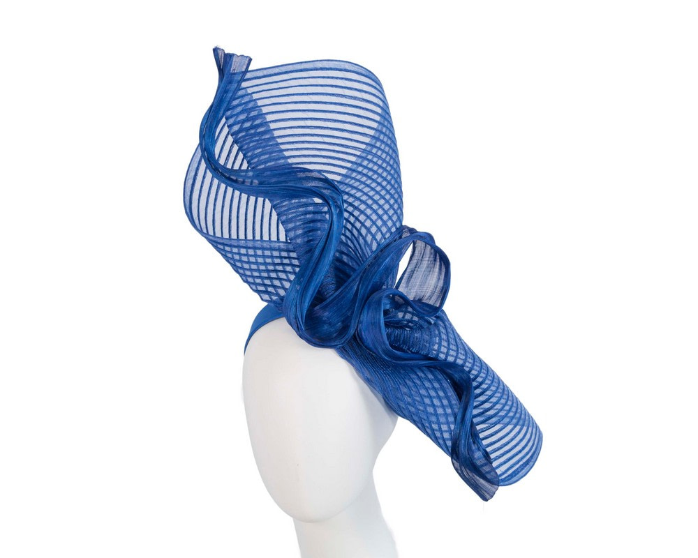 Tall royal blue bespoke racing fascinator by Fillies Collection