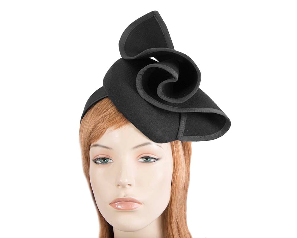 Black felt winter racing pillbox fascinator by Fillies Collection