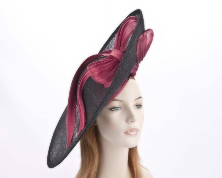 Large black fuchsia fascinator hat for Melbourne Cup Ascot races buy online in Aus S131BF