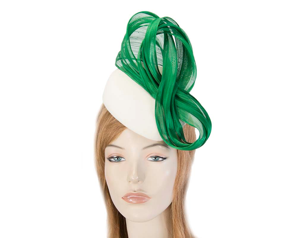 Cream green autumn winter racing pillbox with silk bow