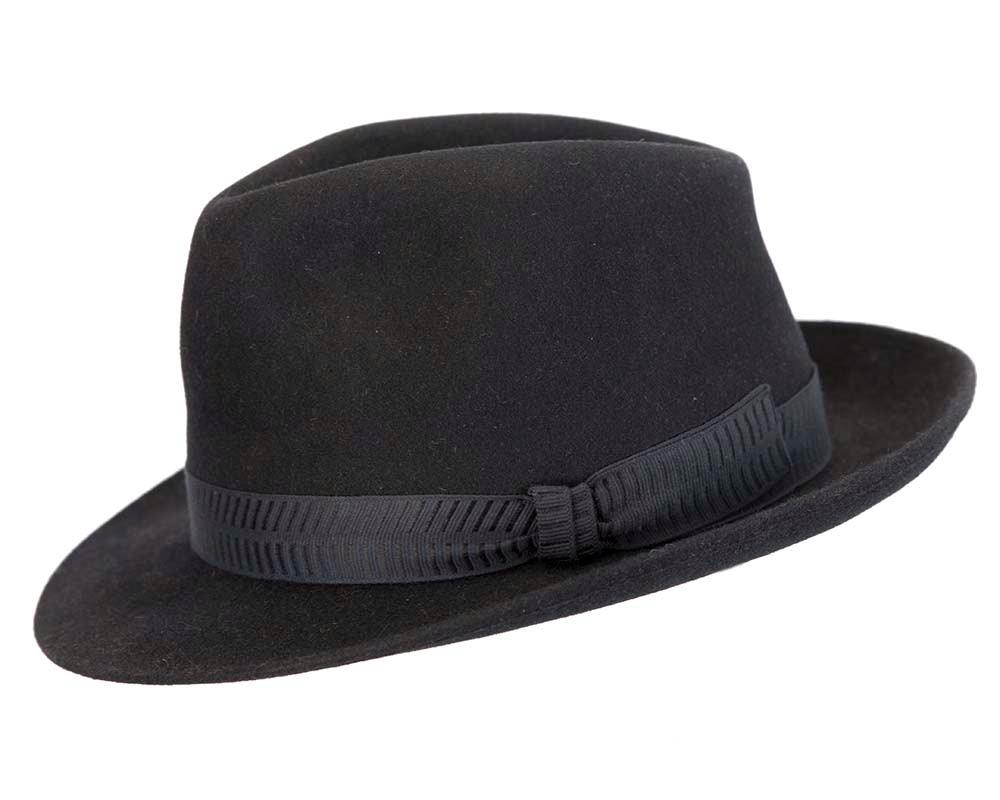 Black rabbit fur mens wide brim fedora hat