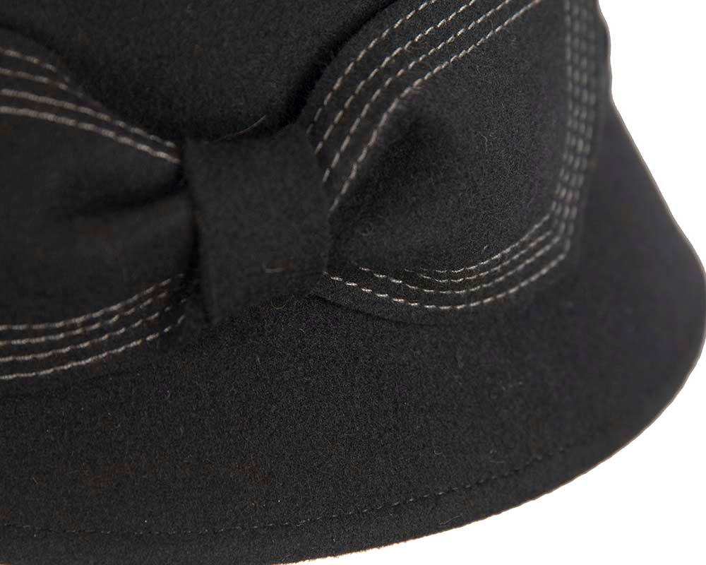 Black winter fashion bucket hat with bow by Cupids Millinery