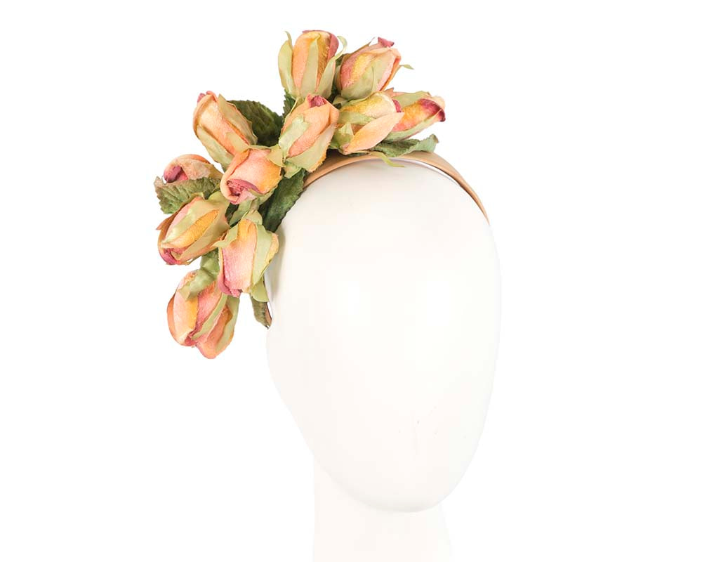 Peach rose flower headband fascinator by Max Alexander