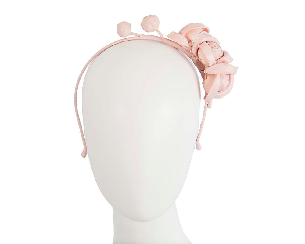Pink leather flowers headband by Max Alexander