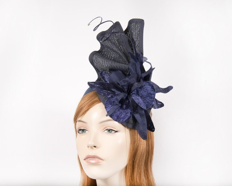 Bespoke navy fascinator with flower