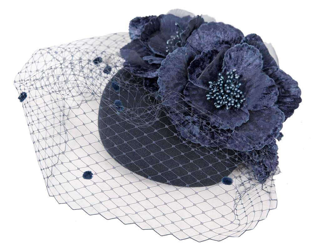 Navy winter racing felt pillbox with flower and veiling by Fillies Collection