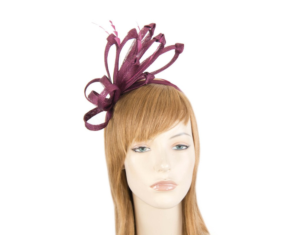 Burgundy wine fireworks of sinamay and feathers fascinator