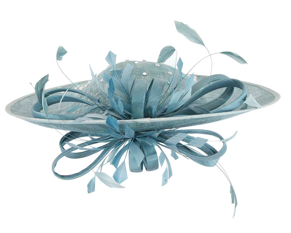 Large blue racing fascinator by Cupids Millinery Melbourne