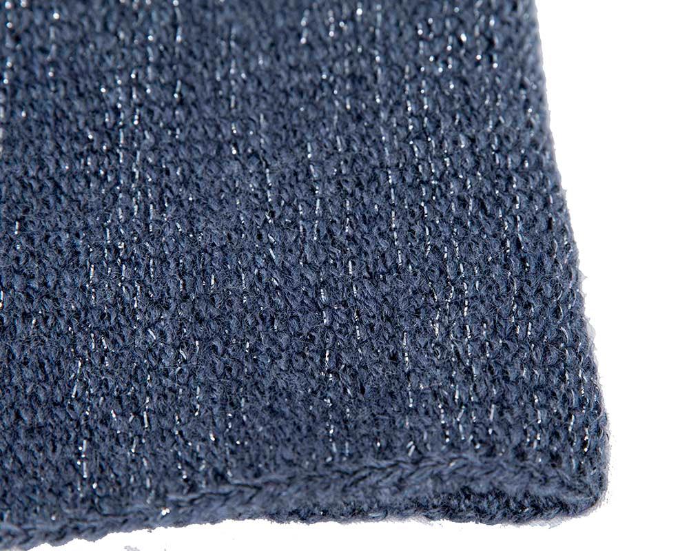 European made woven navy beanie