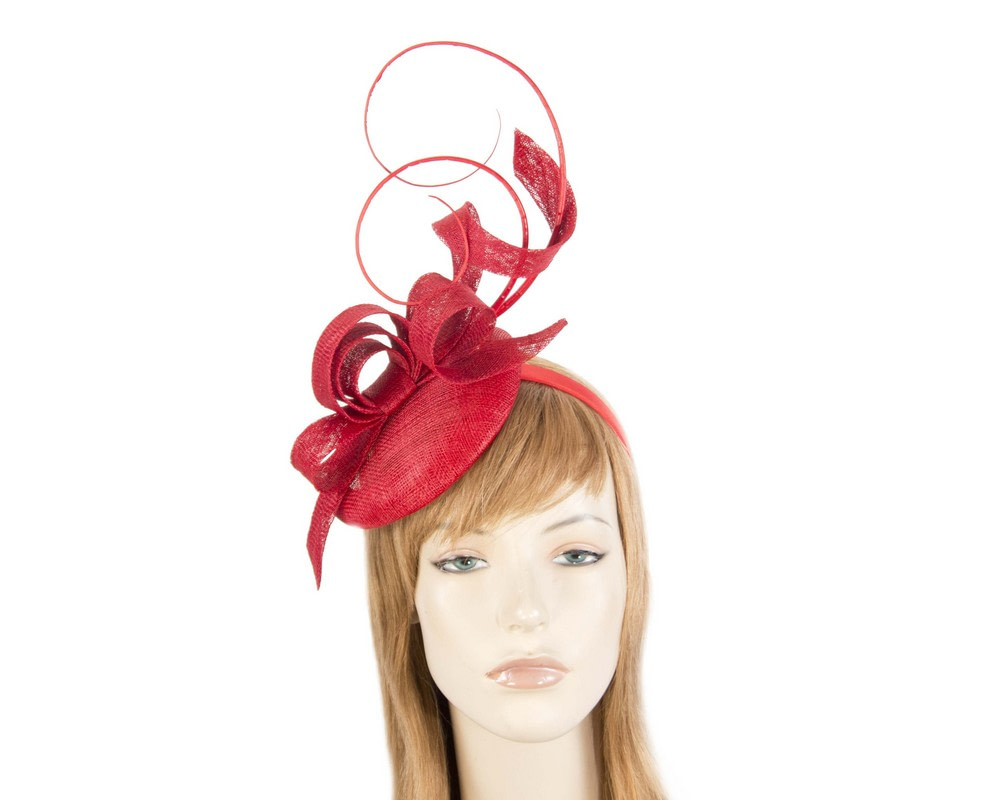 Tall red sinamay racing fascinator by Max Alexander