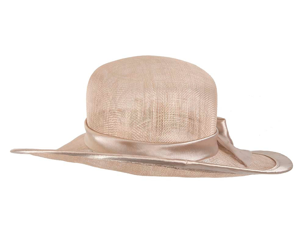 Nude racing hat with bow by Cupids Millinery