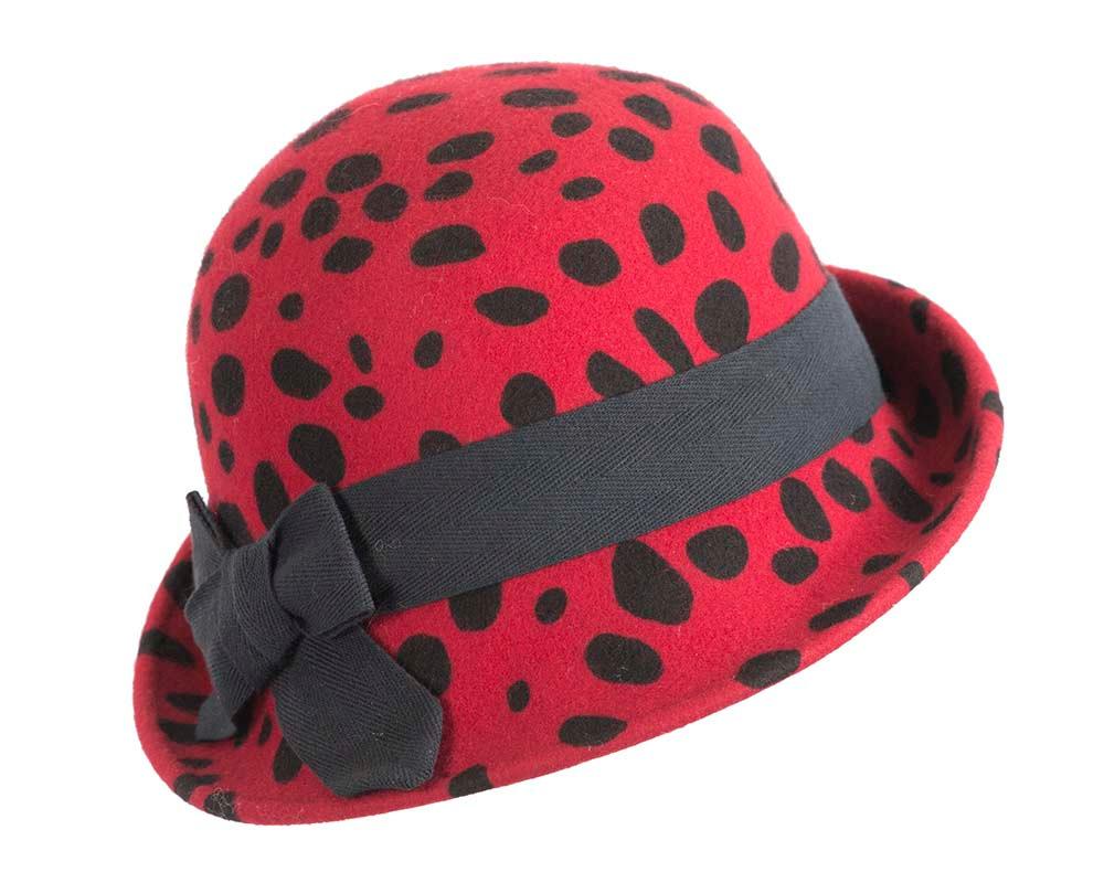Red & black cloche felt ladies hat