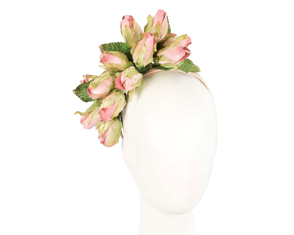 Pink rose flower headband fascinator by Max Alexander