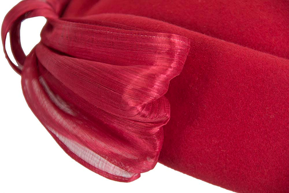 Red Jackie Onassis style felt beret by Fillies Collection