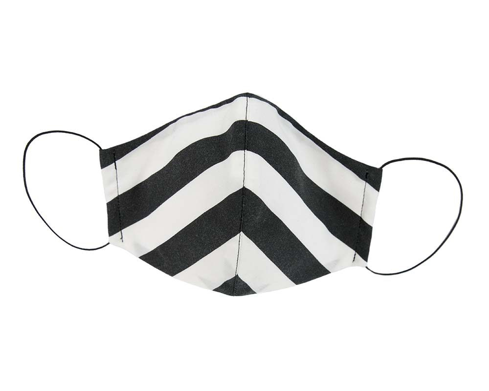 Comfortable re-usable black & white stripy face mask