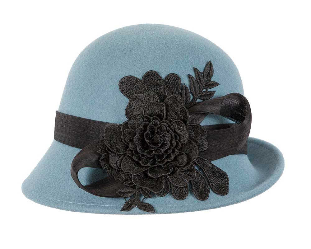 Blue felt cloche hat with lace by Fillies Collection