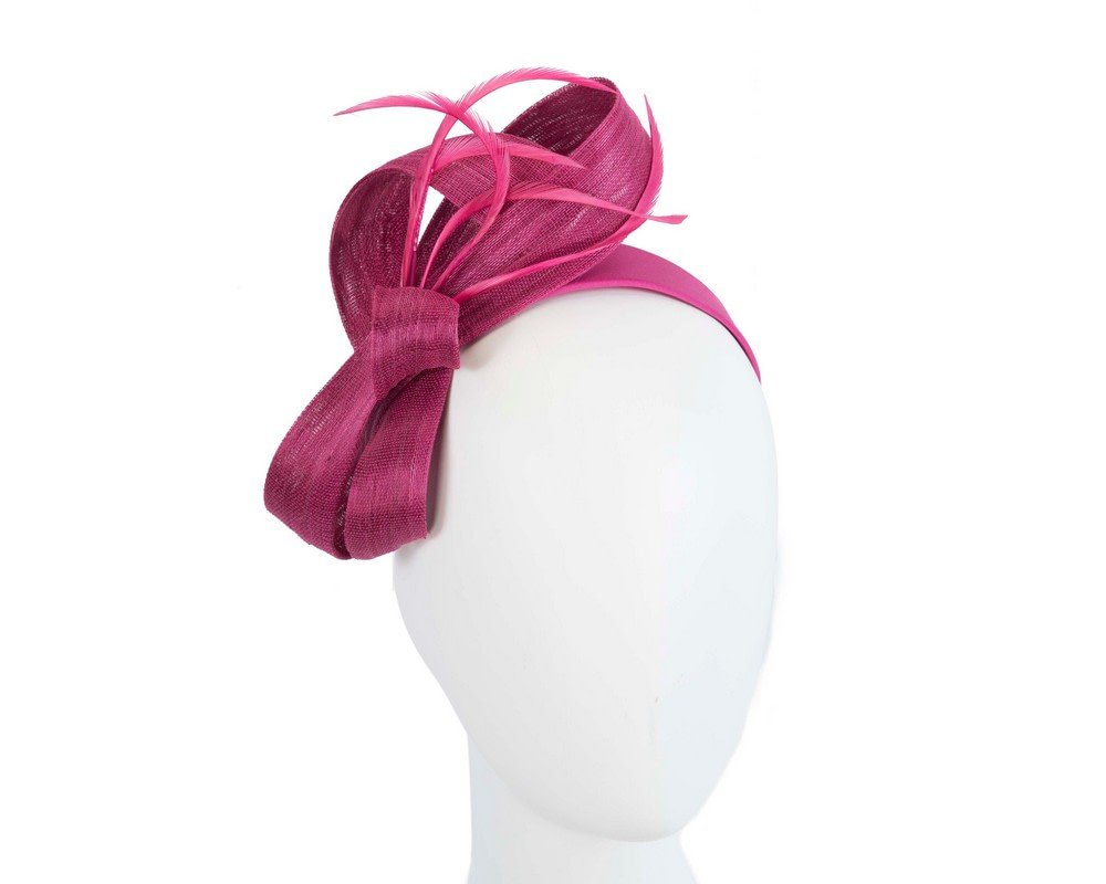 Fuchsia abaca loops and feathers racing fascinator by Fillies Collection