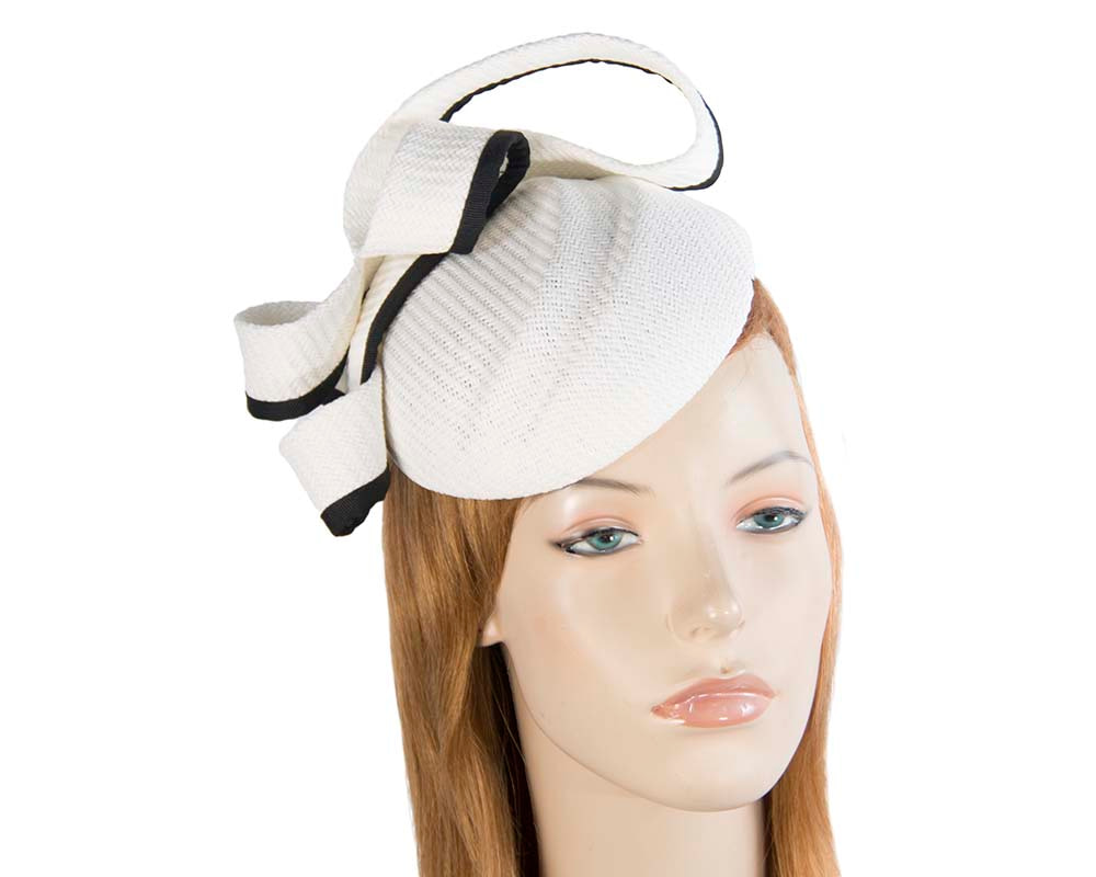 White & black pillbox fascinator by Max Alexander