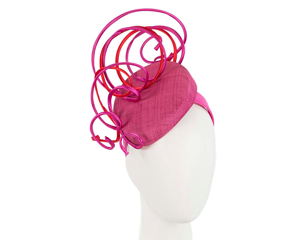 Designers fuchsia and red pillbox fascinator by Fillies Collection