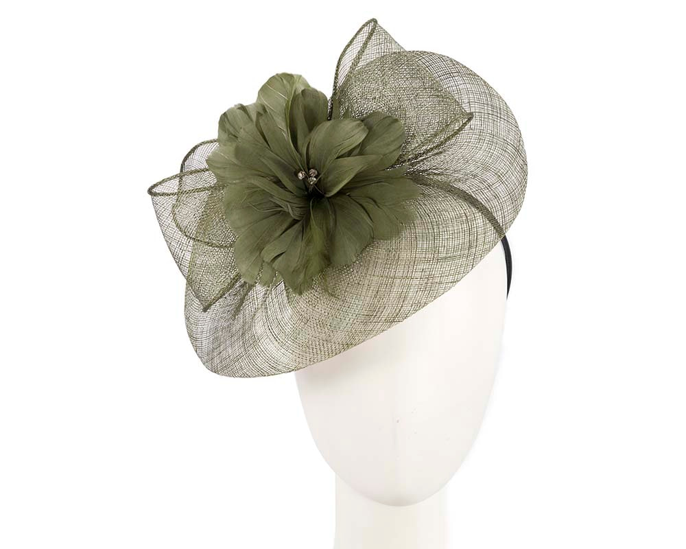 Olive fascinator by Cupids Millinery Melbourne