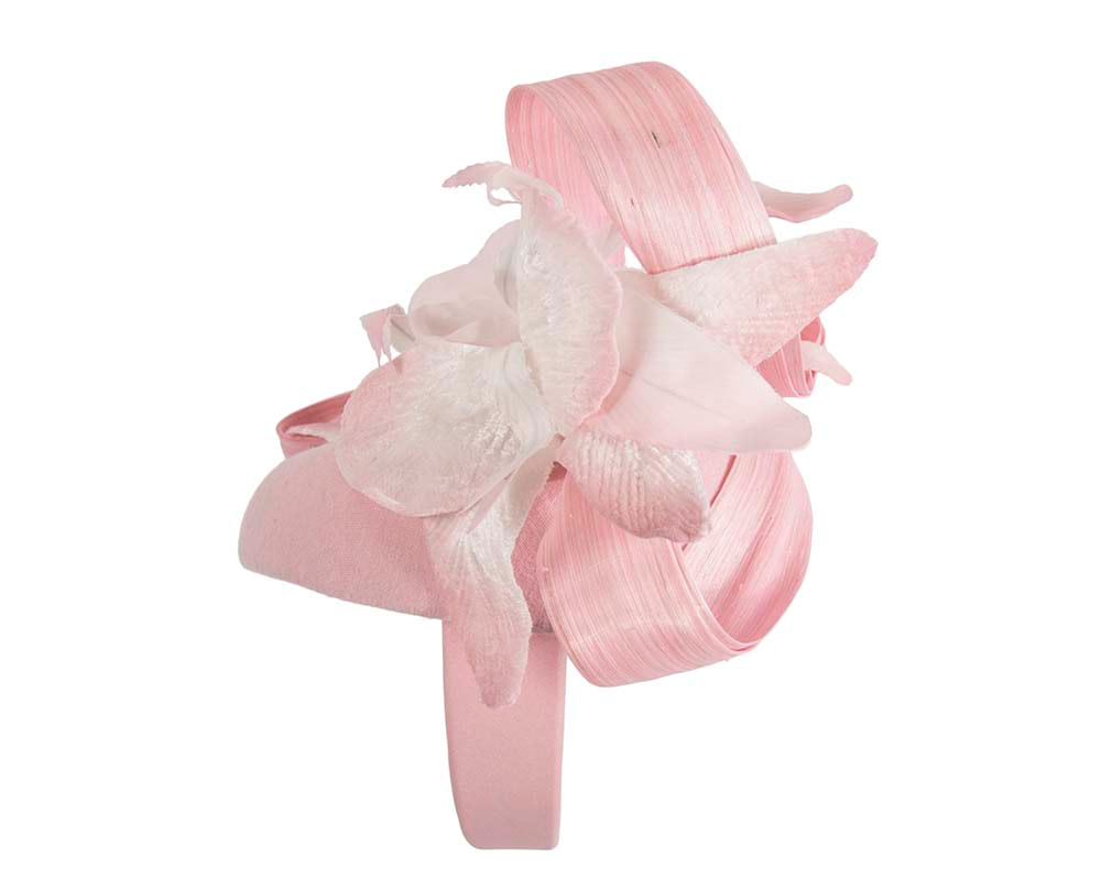 Tall pink winter racing pillbox fascinator by Fillies Collection